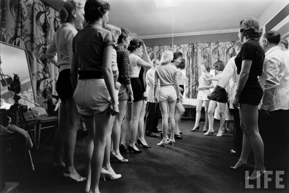 Contestants in the 1956 Miss Correct Posture contest in Chicago.