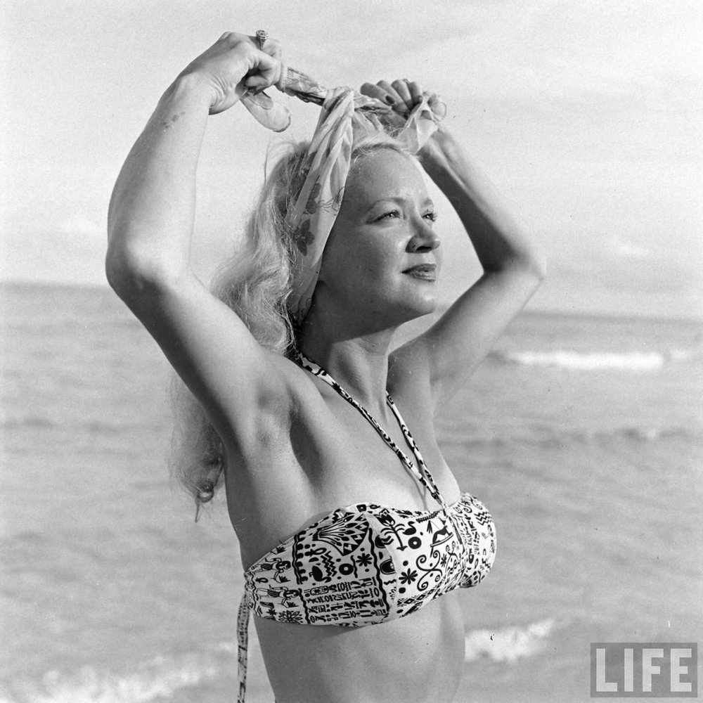 Florida showgirl at the beach, 1940s. Via Time Life Archives.