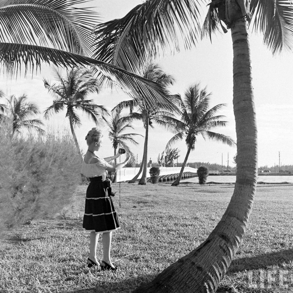 The OG selfie! This Florida showgirl is apparently taking a photo of herself. 1947 via Time Life Archives.