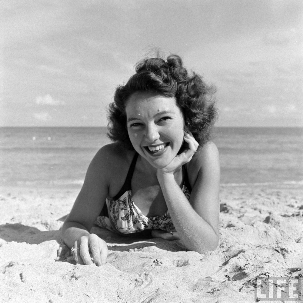 Florida showgirl at the beach, 1940. Via Time Life Archives.