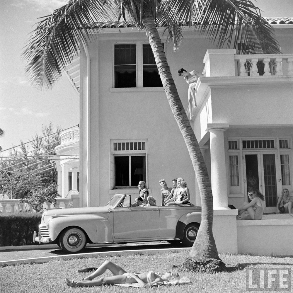 Florida showgirls in front of their house, 1947. Photo via Time Life Archives.