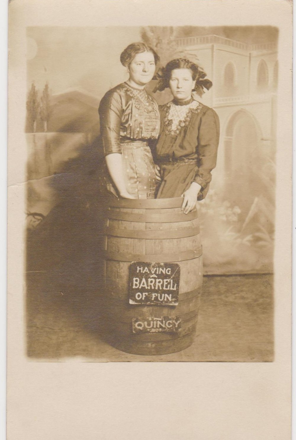 Having a barrel of fun! Vintage photos of women and signs.