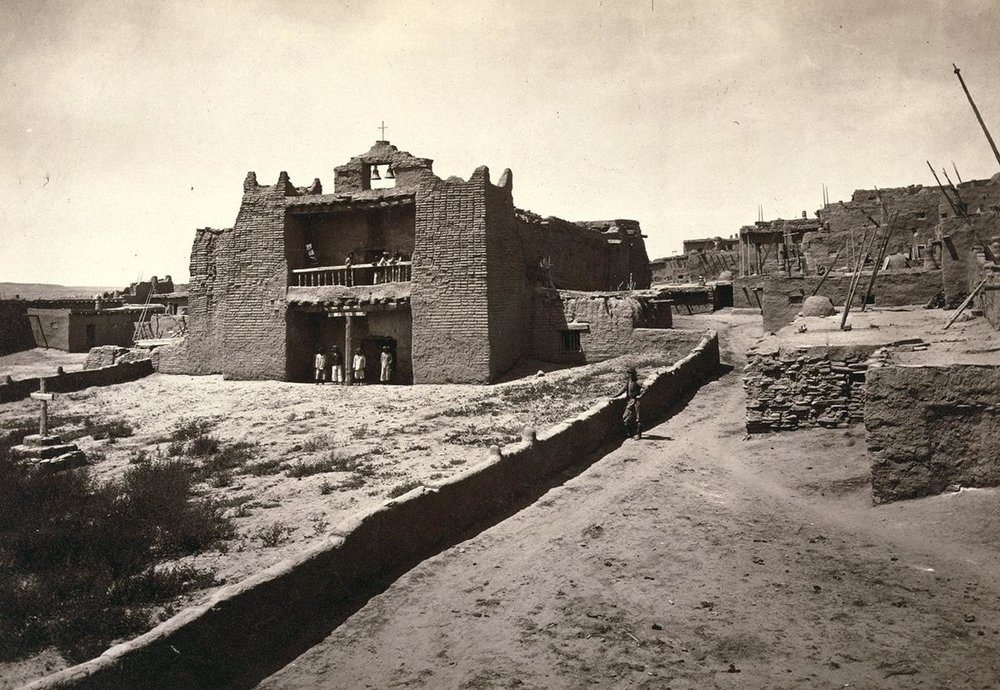 The Old Mission Church in Zuni Pueblo, New Mexico. Taken in 1873.