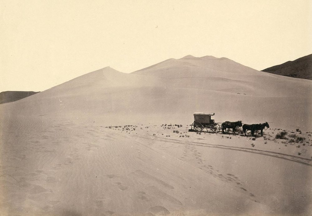 Timothy O'Sullivan's darkroom wagon, pulled by four mules in 1867. Taken in the Carson Sink, part of Nevada's Carson Desert.