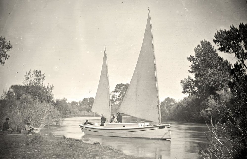 An expedition boat on the Truckee River in western Nevada. Photo taken in 1867.