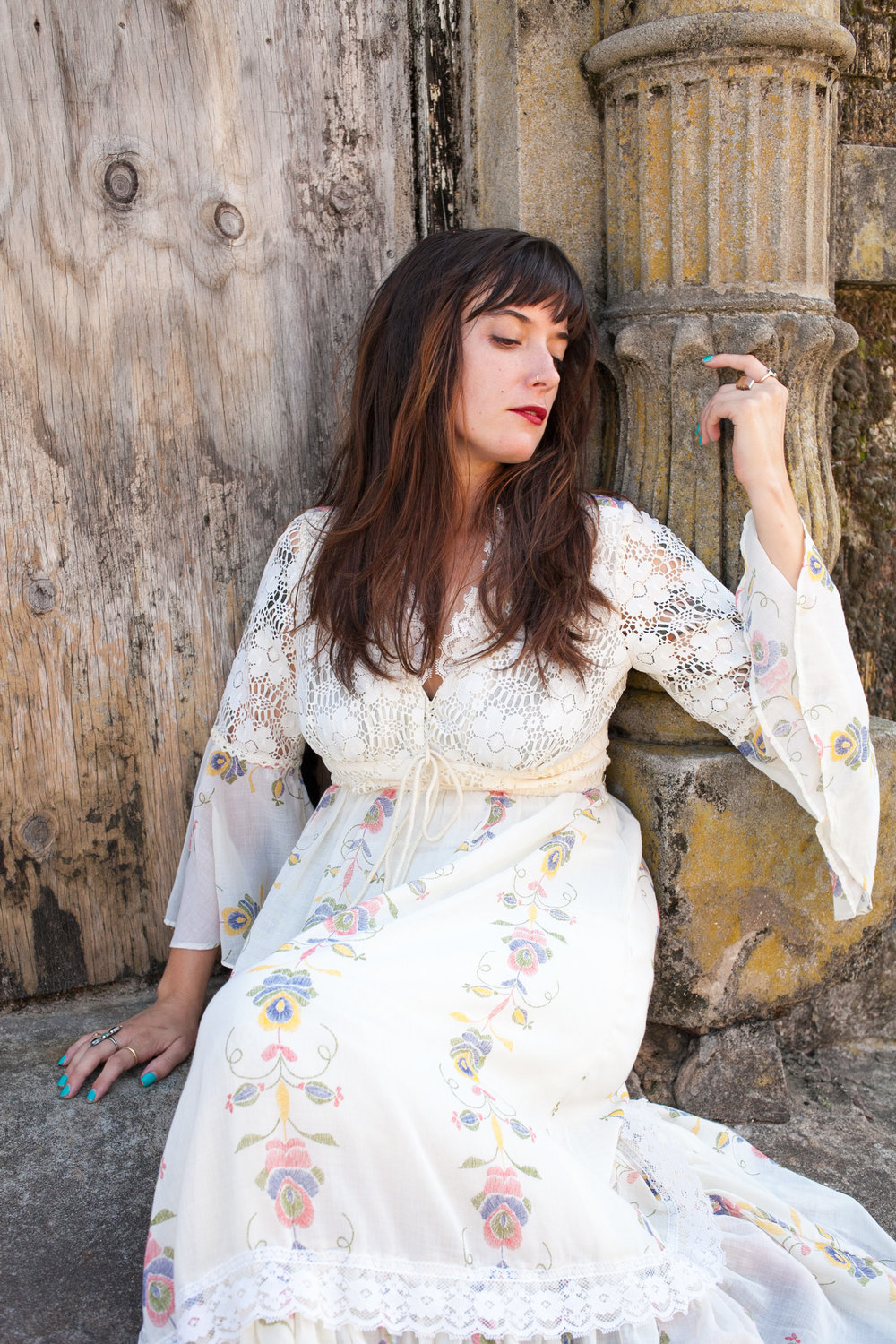 Gorgeous 1970s maxi dress modeled by Andrea Kinnison.
