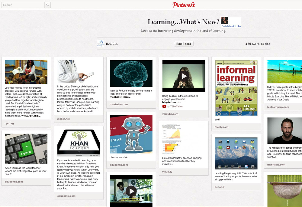 Pinterest Board on current learning research