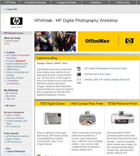 InfoLab site - Targeted audience - BestBuy, OfficeMax, Sams employees selling HP products.