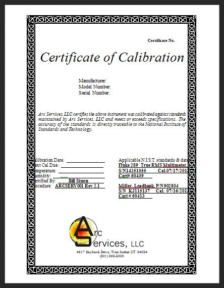 Calibration and certification arc services llc arc automation cal cert jpegg yadclub Image collections