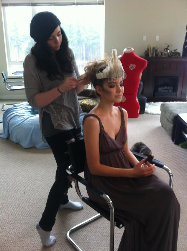 Lauren styling Alexandra for the shoot.