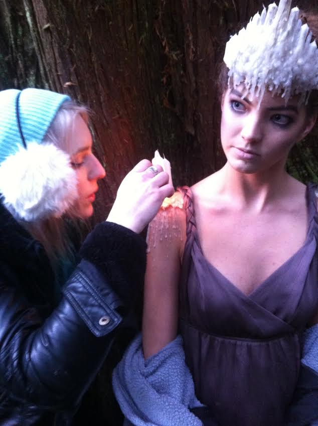 Me melting and rapidly cooling the wax pauldrons onto Alex.