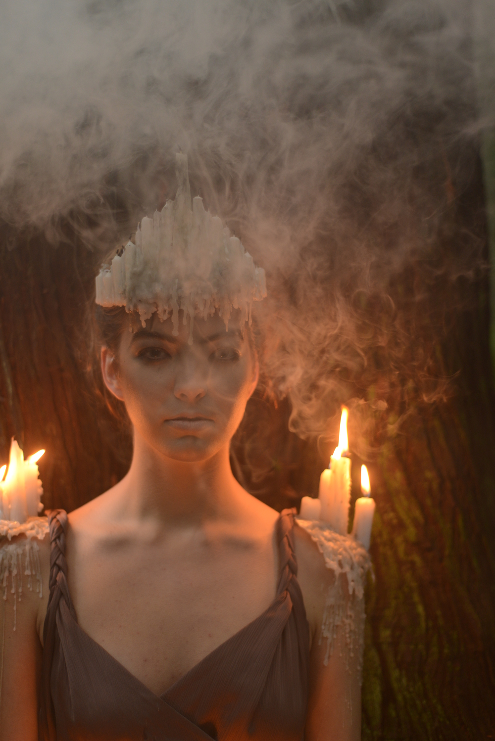 Alexandra holding steady while we light multiple smoke bombs all around her face. I swear I don't torture my models...