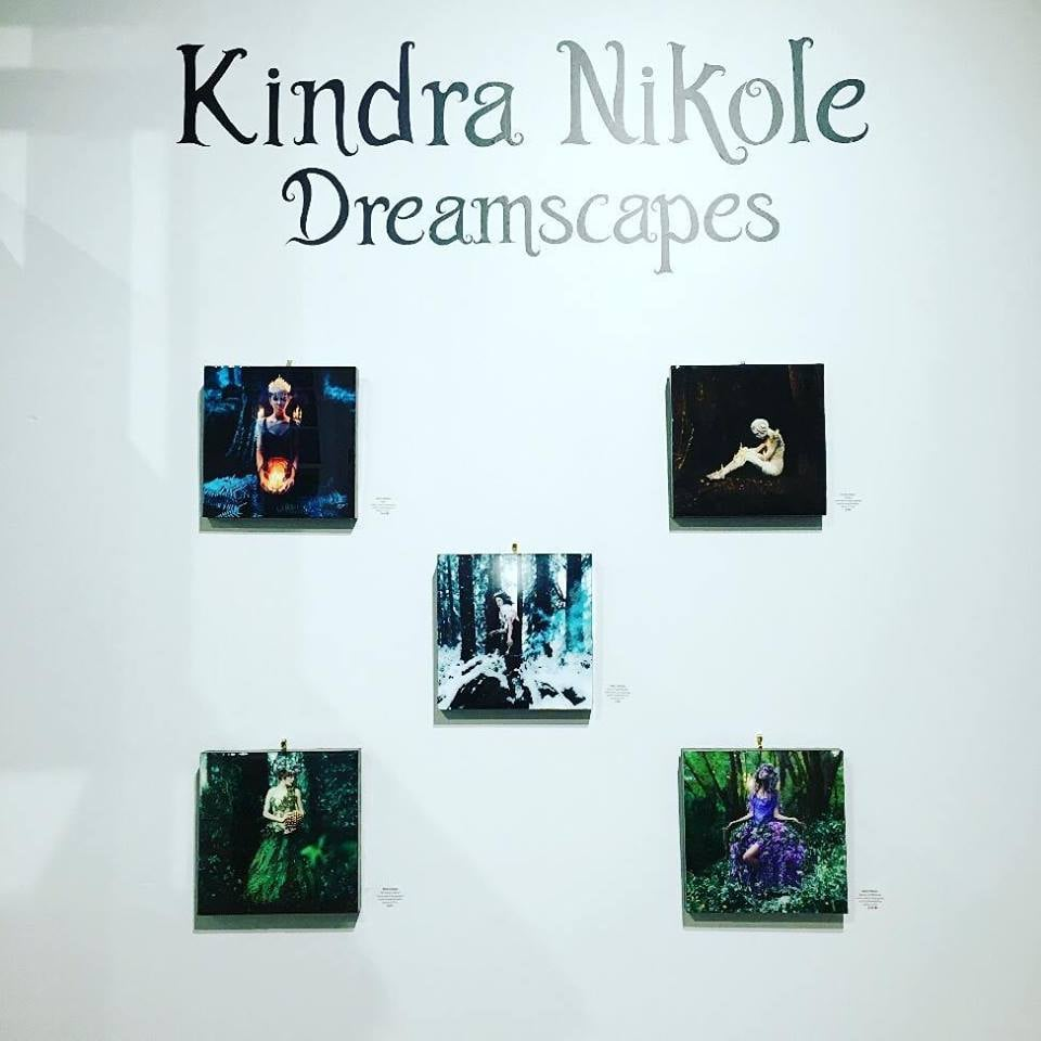 Mini solo exhibiting five pieces from Kindra Nikole's Dreamscapes series as seen at Haven Gallery. Photo courtesy of Haven Gallery.