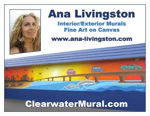 Ana Livingston Fine Artist & Muralist Business Postcard Interior/Exterior Murals - Fine Art on Canvas  www.ana-livingston.com  -   www.clearwatermural.com