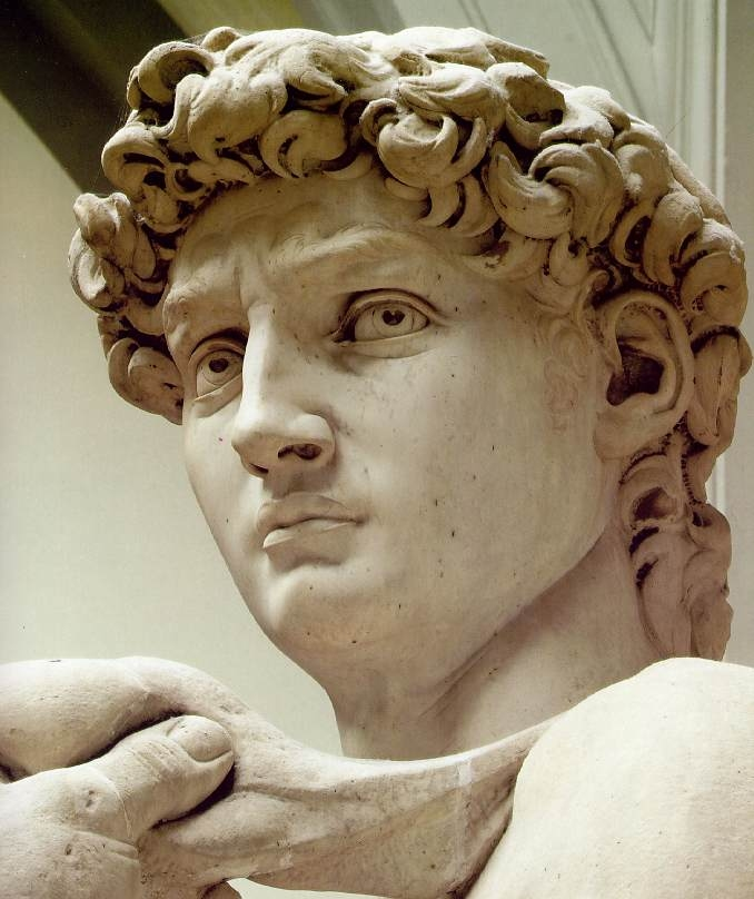 """David"". Created between 1501 and 1504 from Carrara marble. Currently located in the Accademia di Belle Arti Firenze."