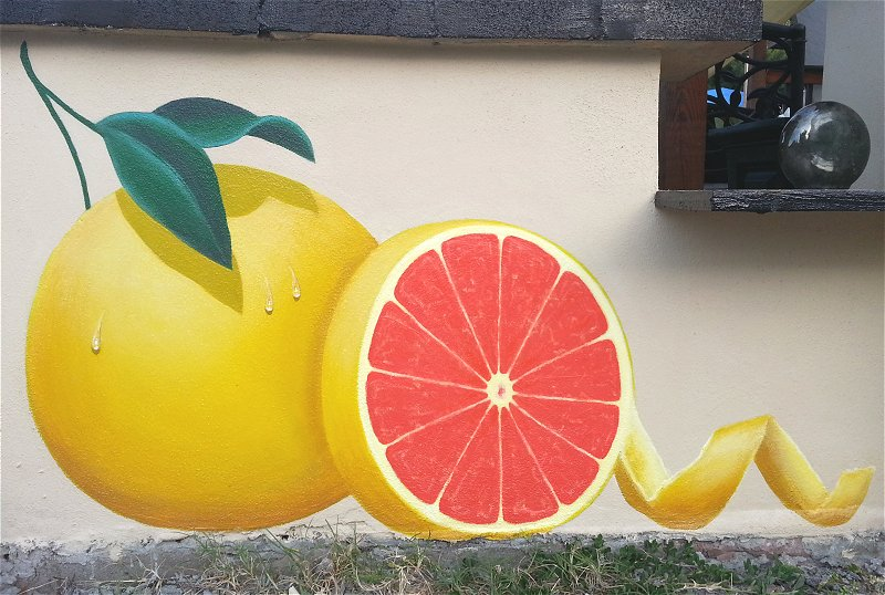 """Grapefruit Mural"", Exterior Mural, Panel Two"