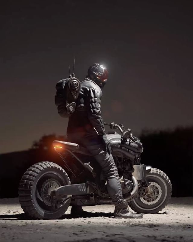 Lens flares galore... the recently added post effects in Redshift are pretty cool... . . . . #redshift3d #vmax #scrambler #dystopian #cyberpunk #3drendering #vfx #motorcycles