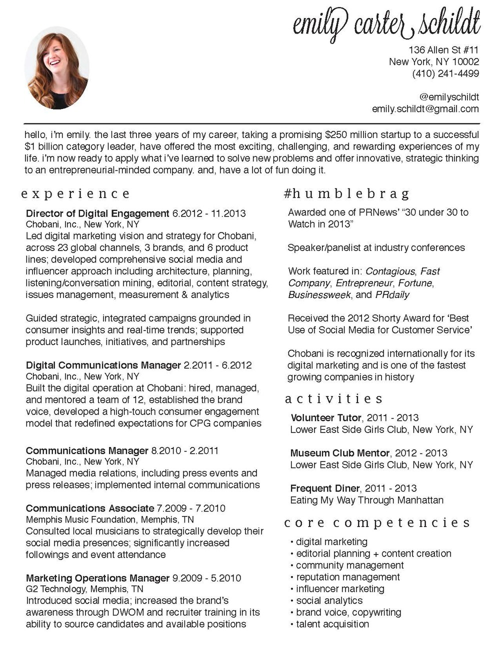 Resume Design — Emily Carter Schildt
