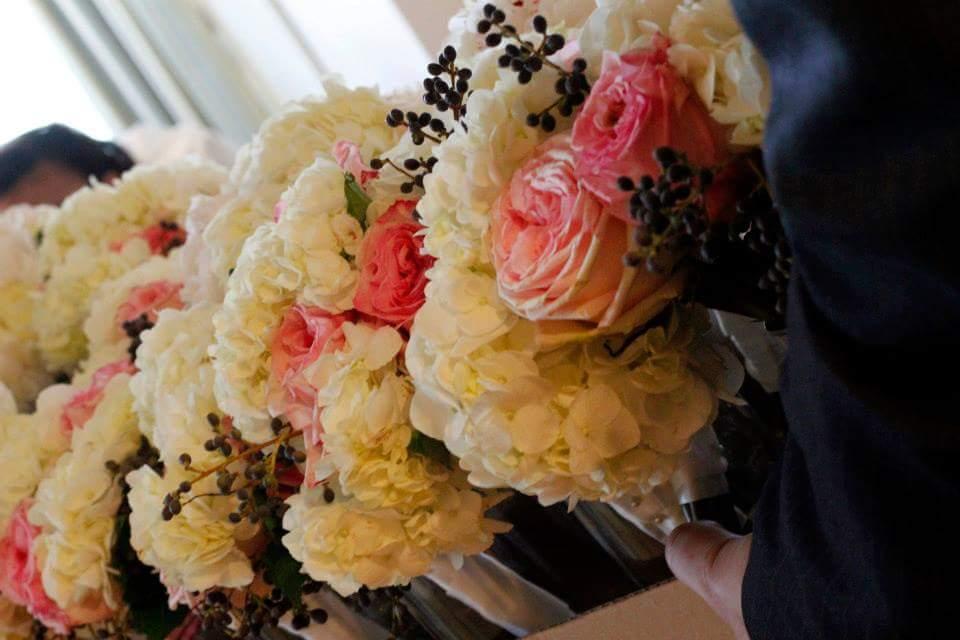 Bridesmaid Bouquets - Pink Garden Roses, White Hydrangeas and Juniper Berries