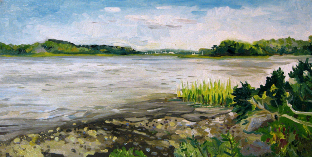 This pictures an island in Westport River made of little more than a half dozen trees and flat boulders. Grass shoots up through a silt and gravel shore that recedes entirely at high tide, finishing the painting.