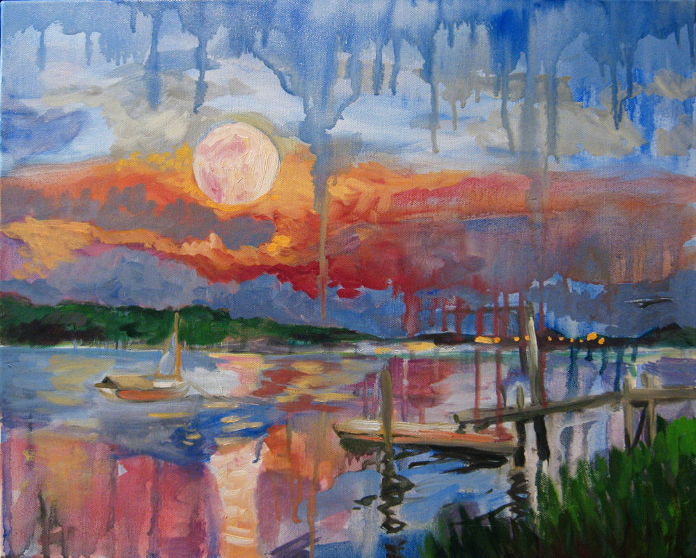 A peachy moon rises above Westport River.  The hazy day provides a projection screen for the setting sun's reddish light, which crosses low through the gauzy atmosphere and scatters back toward the viewpoint of one fortunate artist.