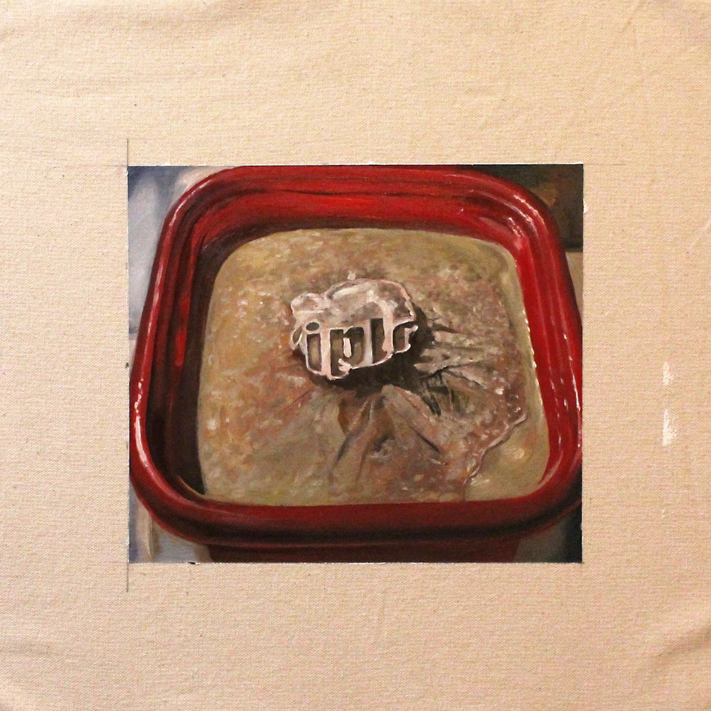 Frozen Stock in Tupperware.  Good Tupper.  Oil paint on unstretched canvas.  Image is 6 x 7 inches.