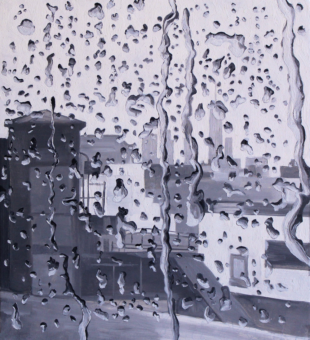 Rainy NYC, 11 x 10 inches, Oil on Panel, (available)