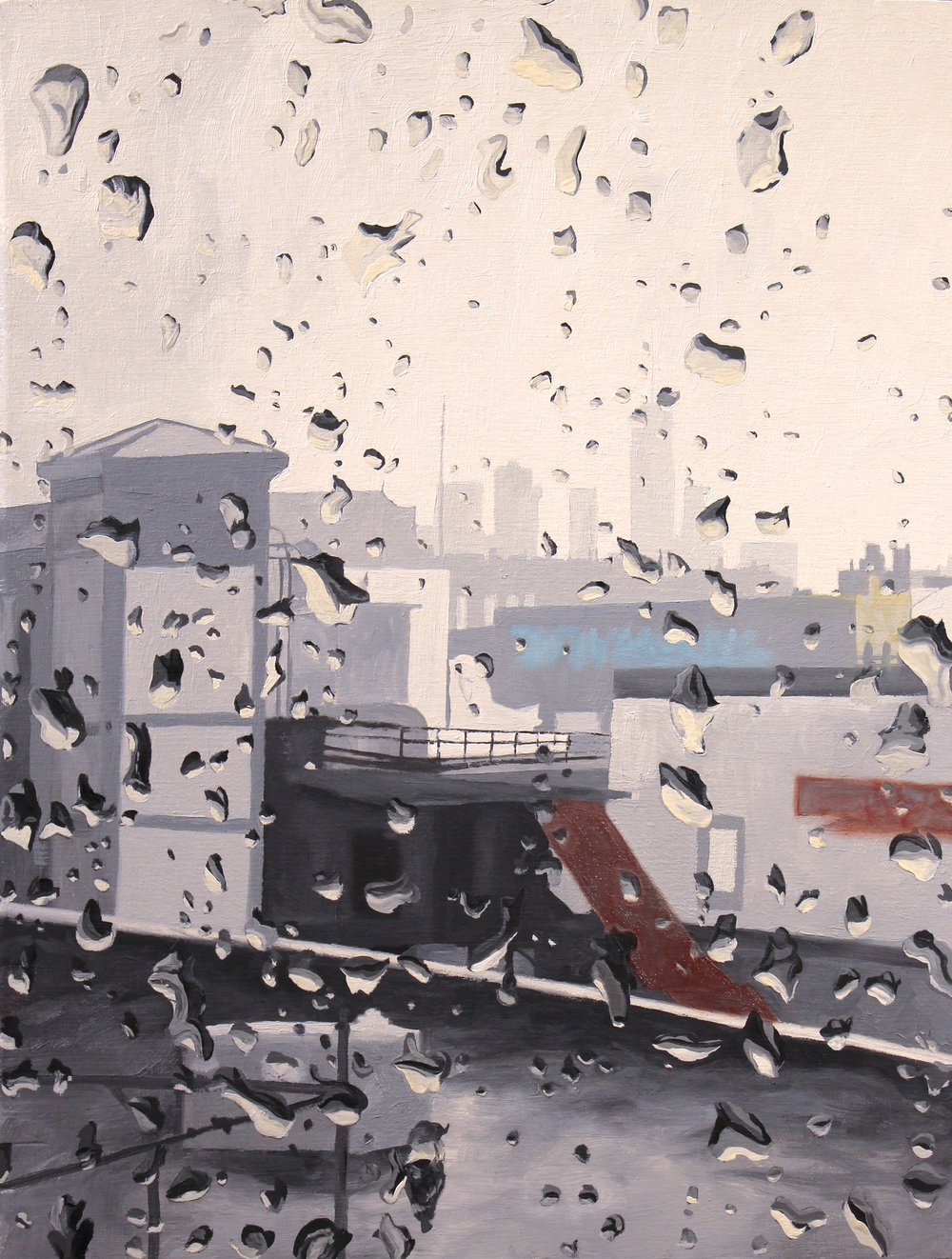 "9. NYC Rainy Day.  20""x16"". Oil on Panel.  2016."