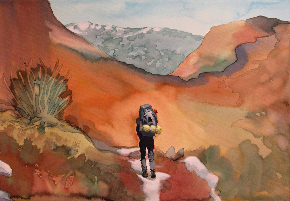 "12. Hetch Hetchy Hiker.  15"" x 22"".  Ink and Oil on Paper.    2017."