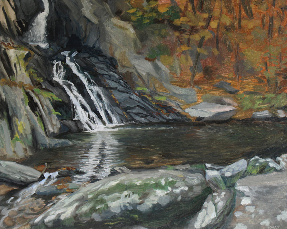 "15. HIgh Falls, Philmont NY.  16"" x 20"".  Oil on Canvas. 2017.    This work was painted  en plein air."