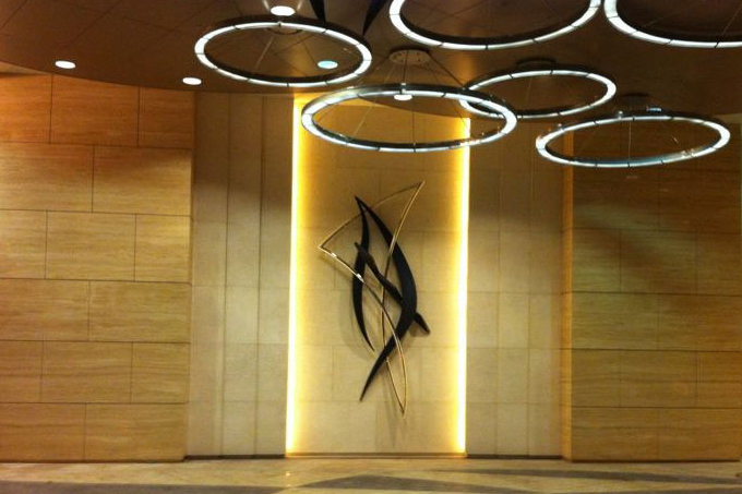 Serenade Wall Sculpture, bronze & stainless steel