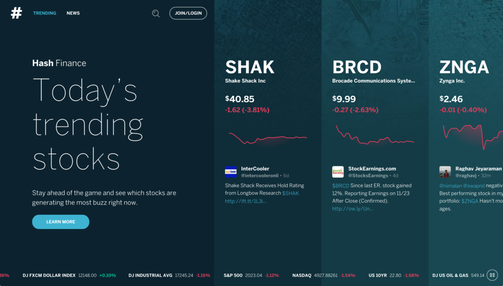 The Hash Finance home page in the current beta.
