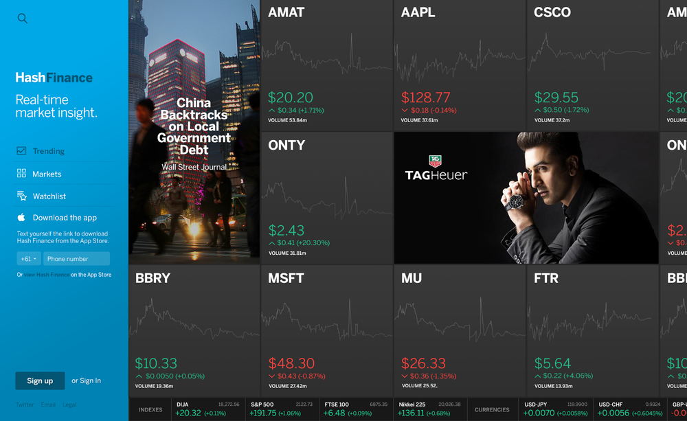Initial designs that were used to create an InVision prototype. This is the main Trending view, where the top 30 trending stocks are pulled in.