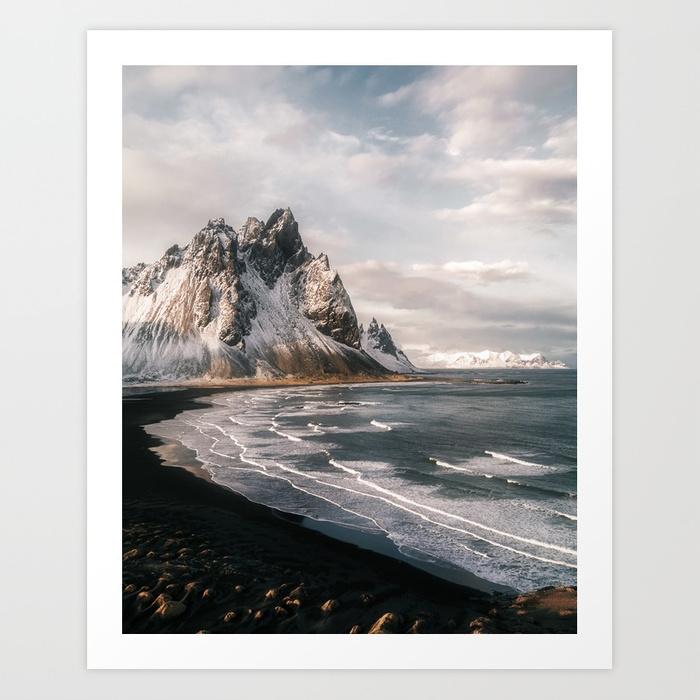Stokksnes Icelandic Mountain Beach Sunset  by  Michael Schauer