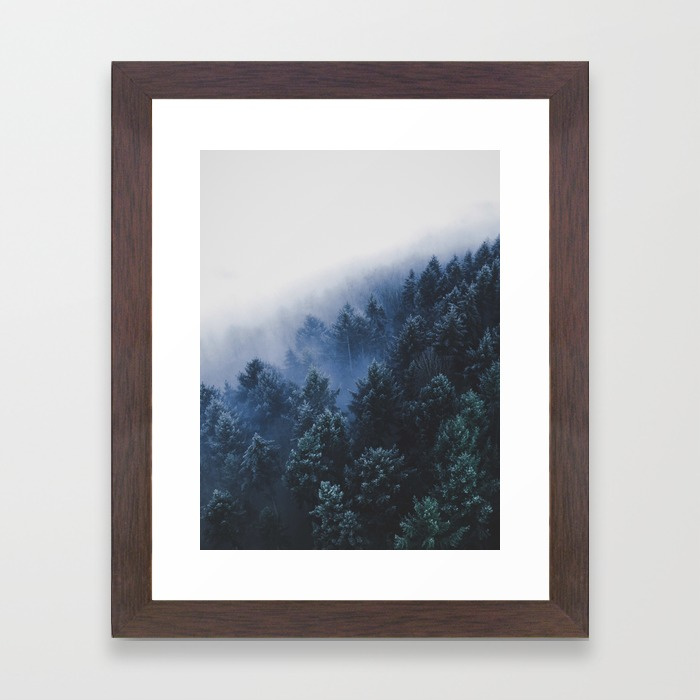 Foggy Blue Purple Mountain Hill Pine Trees  by  EnShape
