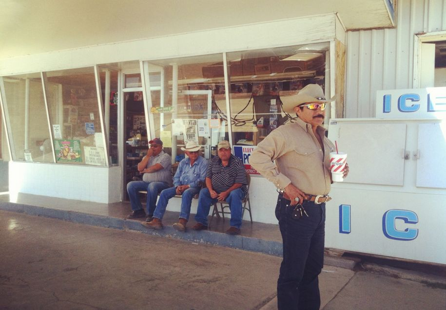 Modern Texan cowboys at the gas station.