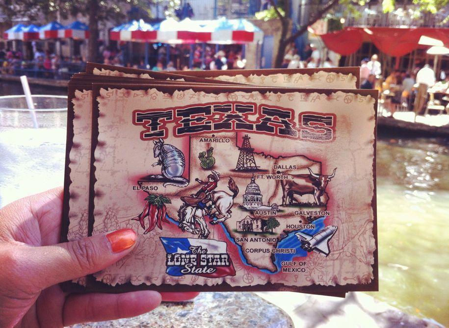 Postcards on the San Antonio Riverwalk.