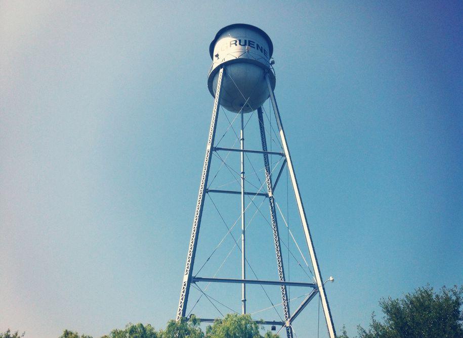 The Gruene water tank.