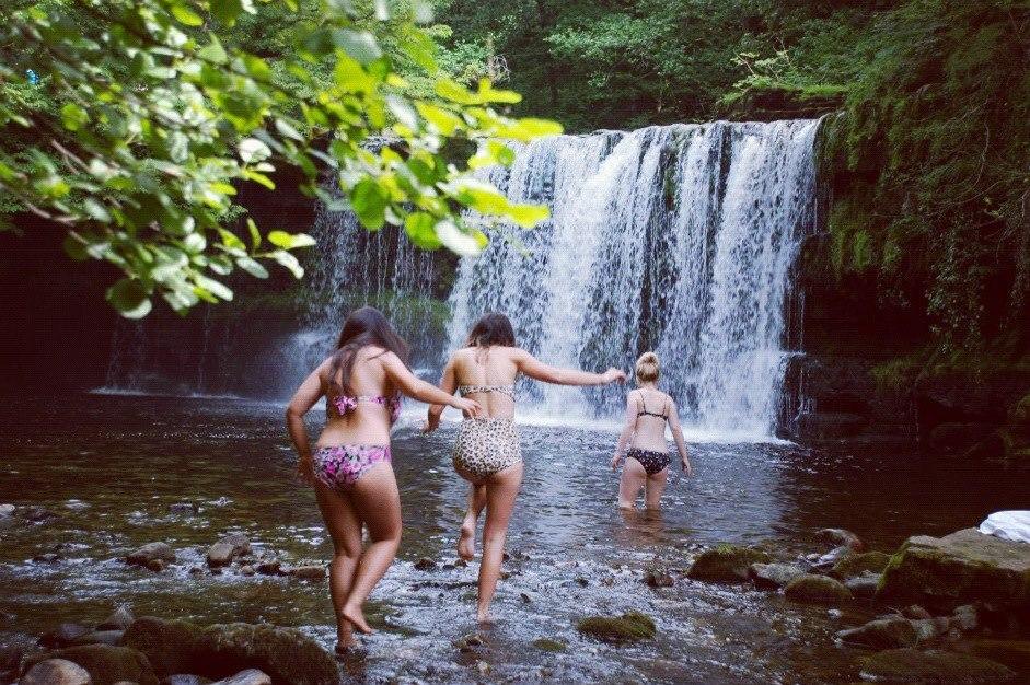Swimming in Welsh waterfalls.