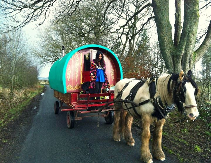 On a gypsy wagon in the Lakes District.