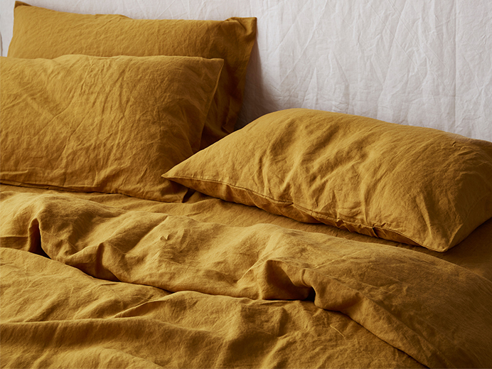 100% pure French linen quilt cover in Mustard - I Love Linen