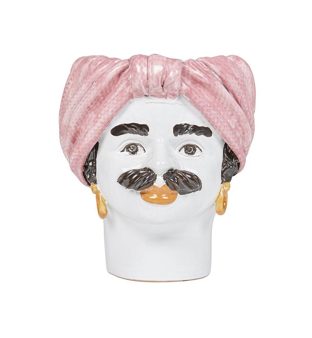 Sicilian Medium Turban Head Vase Man - Pink - Fenton & Fenton