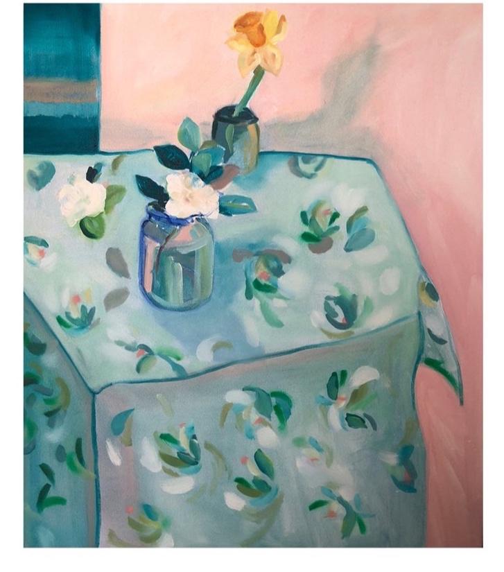 Gardenia On Teal Painting - Fenton & Fenton