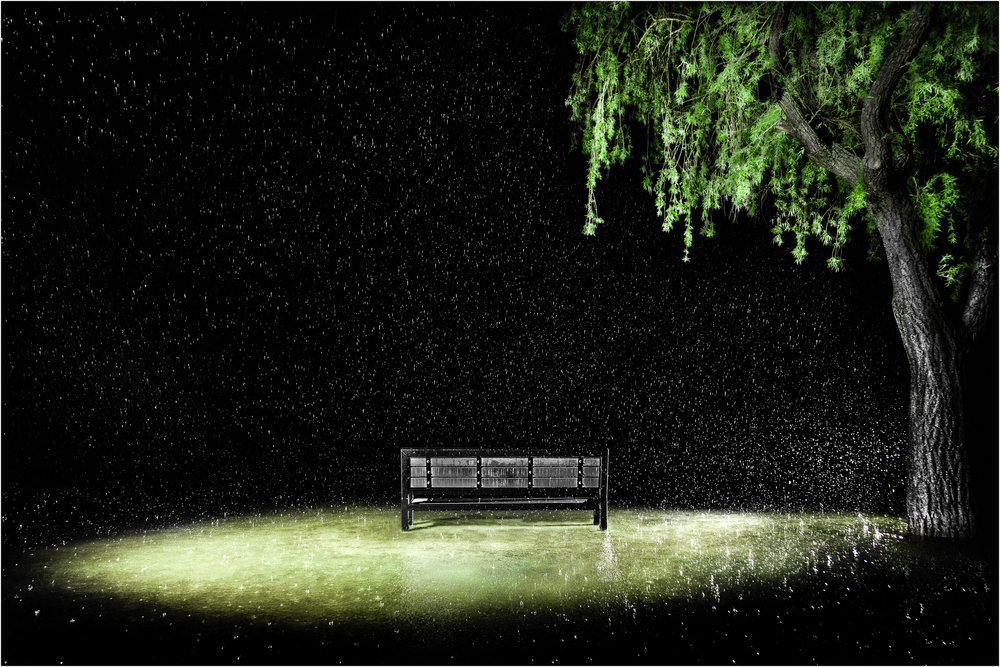 """Rainy night bench"""