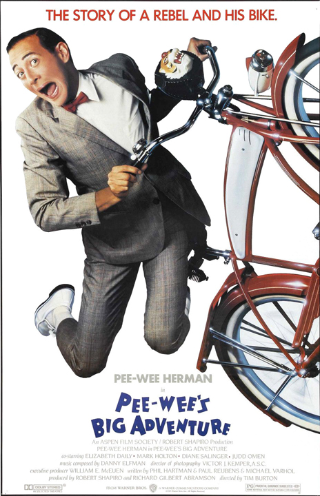 Note: In the original movie poster, Pee-Wee's bike does not have all the accessories that it does in the film. I have corrected that for my pixarposter, and the studio eventually did on the DVD release.