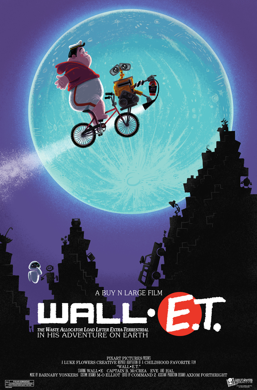 MARCH: Inspired by one of the most memorable moments in my childhood movie experiences. It was a perfect fit to have Wall-e in the place of E.T. and swap the Captain with Elliot (had to keep that iconic red sweatshirt). Try to find all the Wall-e and E.T. items hidden in the rubble (spork, rubik's cube, umbrella, speak & spell, Buy N Large cooler, E.T.'s flowers, Wall-e's stature of Eve, pizza planet truck, pixar lamps, hal the cockroach, Eve's plant and E.T.'s spaceship.)