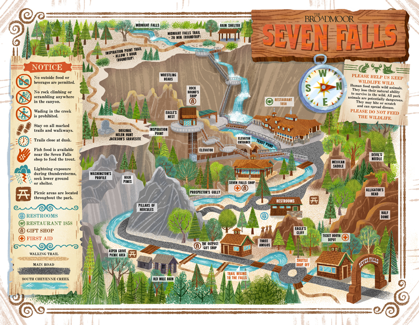 Seven Falls map (The Broadmoor)
