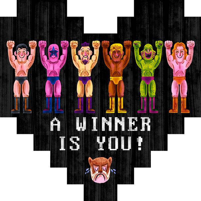 """A Winner is YOU!"" Pixelhearts show (Gallery 1988)"