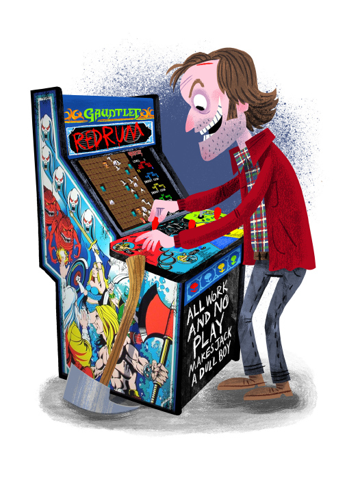 """Arcade Dayz - postcard set - The Shining"" DOWNTIME (duo show w/ Glen Brogan) (Gallery 1988)"