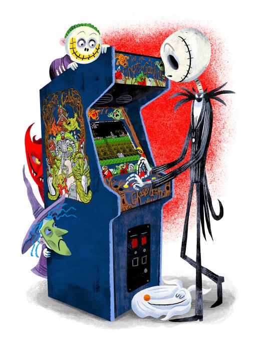 """Arcade Dayz - postcard set - Skellington"" DOWNTIME (duo show w/ Glen Brogan) (Gallery 1988)"